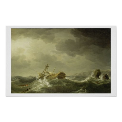 Bateau détruit sur une côte rocheuse, c.1747-50 (h posters
