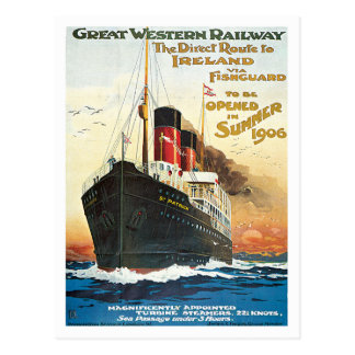 Bateau ferroviaire de Great Western Irlande Carte Postale