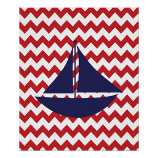 Bateau nautique de marine rouge de Chevron Posters