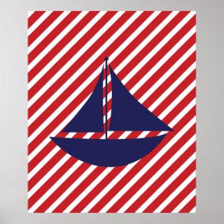 Bateau nautique de rayures rouges affiche