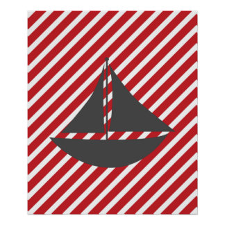 Bateau nautique de rayures rouges