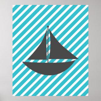 Bateau nautique de rayures turquoises affiche