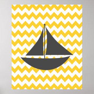 Bateau nautique jaune de Chevron Posters