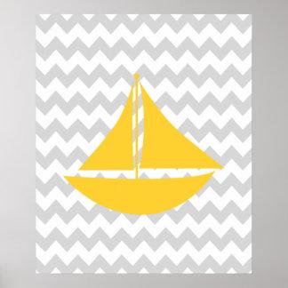 Bateau nautique jaune et gris de Chevron Affiche