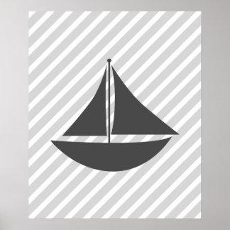 Bateau nautique rayé gris poster