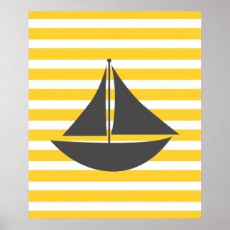 Bateau nautique rayé jaune affiche