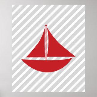 Bateau nautique rayé rouge et gris poster