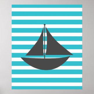 Bateau nautique rayé turquoise affiches