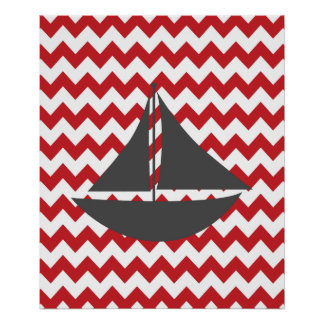 Bateau nautique rouge de Chevron Posters
