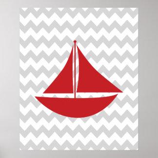 Bateau nautique rouge et gris de Chevron Affiches
