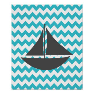 Bateau nautique turquoise de Chevron Posters