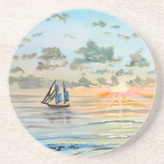 Bateau sur la peinture de mer dessous de verre en grès