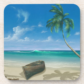Bateau sur la plage bleue de sable de paradis dessous-de-verre