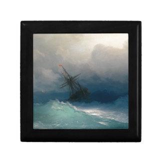 Bateau sur les mers orageuses, Ivan Aivazovsky Petite Boîte À Bijoux Carrée