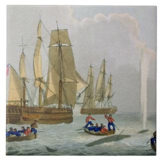 Bateaux approchant une baleine, gravée par la copi grand carreau carré