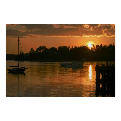 Bateaux au coucher du soleil affiche
