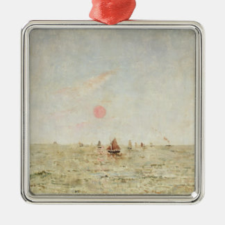 Bateaux au lever de soleil (huile sur le panneau) ornement carré argenté