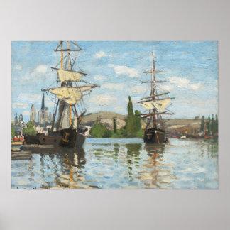 Bateaux de Claude Monet | montant sur la Seine à Poster