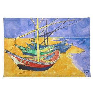 Bateaux de pêche de Van Gogh sur des beaux-arts de Set De Table