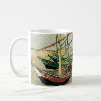 Bateaux de pêche sur la plage par Vincent van Gogh Mug Blanc