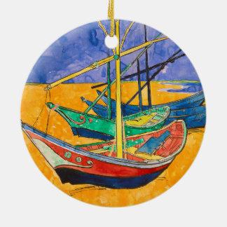 Bateaux de Vincent van Gogh impressionnistes Ornement Rond En Céramique