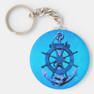 Bateaux nautiques bleus roue et ancre porte-clé rond