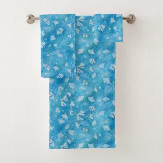 Bath bleu de Sunprints de Ginkgos et de fleurs