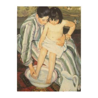 Bath de l enfant par Mary Cassatt beaux-arts Canevas En Bois