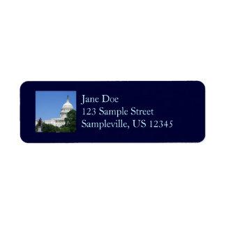 Bâtiment de capitol dans le Washington DC Étiquette D'adresse Retour