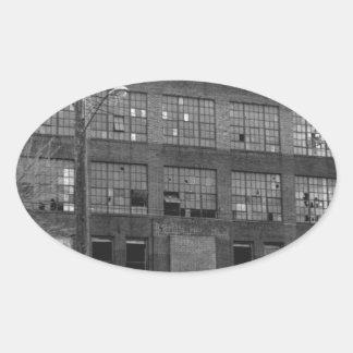 Bâtiment de fabrication abandonné autocollants ovales