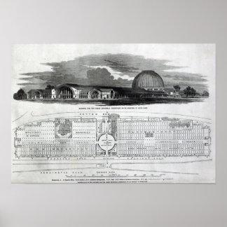 Bâtiment pour la grande exposition industrielle affiche