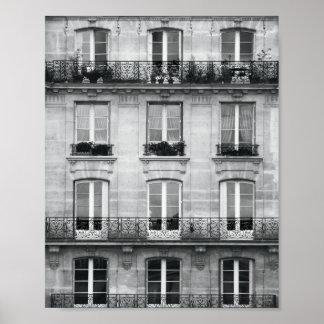 Bâtiment vintage noir et blanc du voyage | à Paris Posters