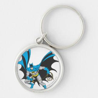Batman avec la corde porte-clé rond argenté