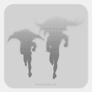 Batman et gradient d'image tramée de Robin Sticker Carré