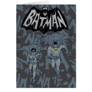 Batman et Robin avec le graphique affligé par logo Carte De Vœux