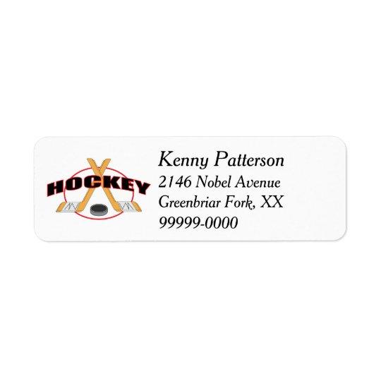 Bâtons de hockey et ligne du galet 4 étiquette d'adresse retour