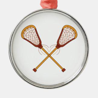 Bâtons de lacrosse ornement rond argenté