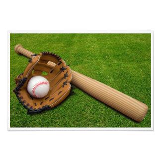 Batte de baseball avec le gant et le base-ball impression photographique