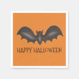 Batte orange heureuse de noir de vol de Halloween Serviette En Papier