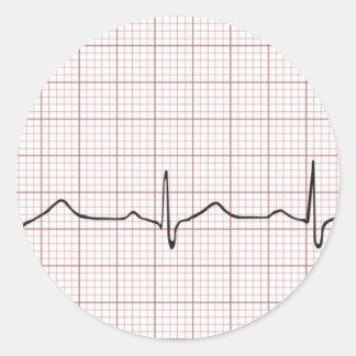 Battement de coeur d'ECG sur le papier de Adhésifs Ronds
