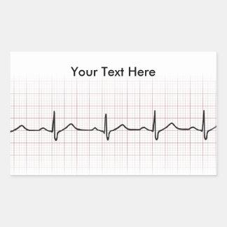 Battement de coeur d'ECG sur le papier de graphiqu Sticker Rectangulaire