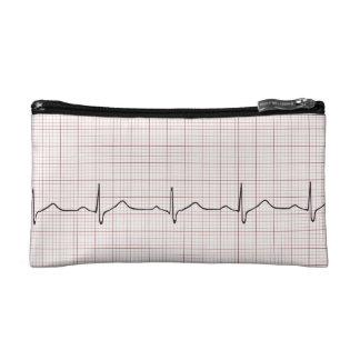 Battement de coeur d'ECG sur le papier de graphiqu Trousses De Toilette