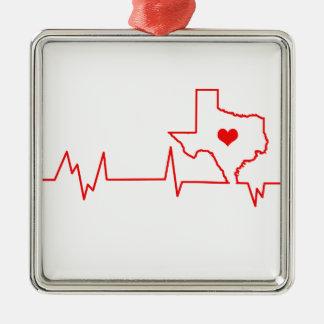 Battement de coeur du Texas Ornement Carré Argenté