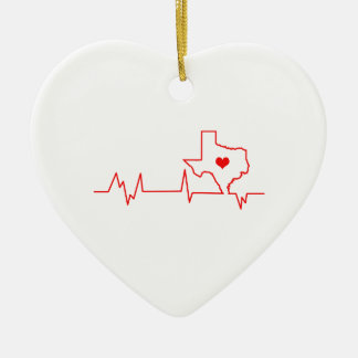 Battement de coeur du Texas Ornement Cœur En Céramique