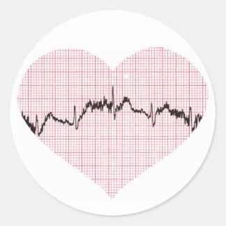 Battement de coeur III Sticker Rond