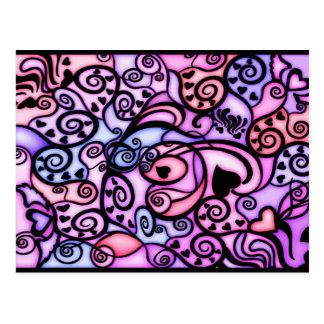 Battements de coeur chantant, style en verre carte postale