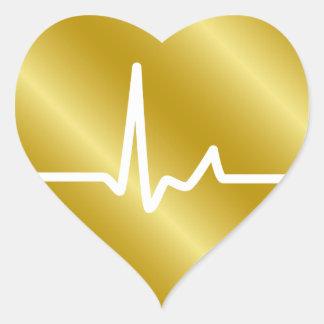 Battements de coeur d'or autocollant en cœur