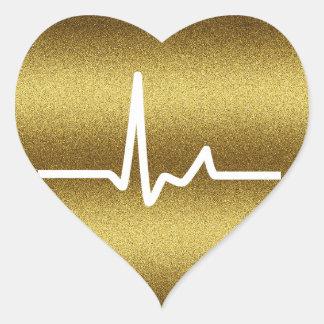 Battements de coeur d'or de scintillement autocollant en cœur