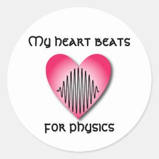 Battements de coeur pour l'autocollant de physique sticker rond