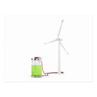 Batterie de remplissage avec la turbine de vent carte postale